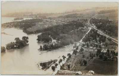 Russells Point,Ohio-Indian Lake-1922 Aerial Real Photo from Baker's Plane jjh27