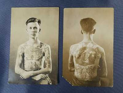 American 1919 Tattooed Navy Man Detroit 2 Postcards Horses Ships Flags