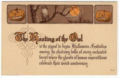 HALLOWEEN POSTCARD PUBLISHED BY NASH SERIES 11, OWL WITH JOLS.