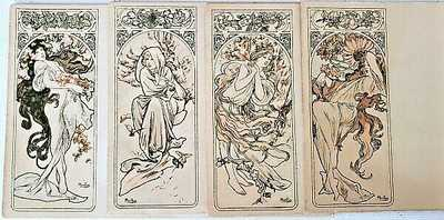 Rare c1896 Alphonse Mucha Signed Art Nouveau FOUR CARD SEASONS POSTCARD SET NR