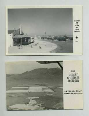 (2) RPPC Twentynine 29 Palms CA California Postcards Theater Chemical Co yz1815