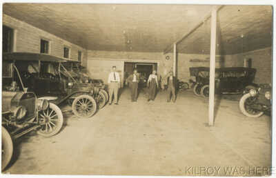 1920 RPPC Interior Auto Car Garage Men Ford Other Nice Cars Randolph Kansas Nice