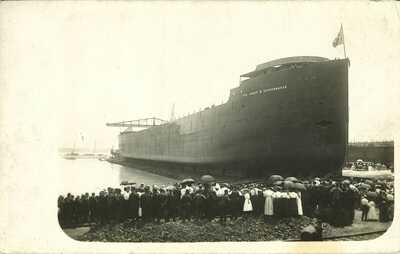 Great Lakes Freighter Col James M Schoonmaker Series of (9)  RPPC of Launch
