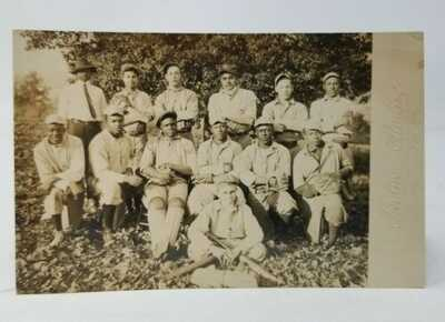 Negro Baseball Team Photo RPPC c.1900 - 1935 Idylwood Studios in Scottsville VA