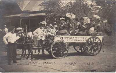 RPPC Real Photo Postcard Women Suffrage Suffragette Parade Wagon Perry Oklahoma