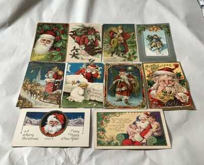 84 Vintage Christmas Postcards - All Santa Claus