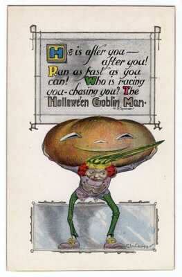 "HALLOWEEN POSTCARD UNITED ART PUBLISHING SIGNED CLEN DENING ""C.D"" & H.B. SPENCER"