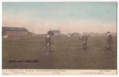"GOLF - GOLFING AT ST ANDREWS  #1 "" 17TH or ROAD HOLE "" - c1910 Fletcher postcard"
