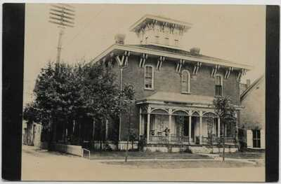 Sidney,Ohio-Poplar Street Home Behind Kastan Jewelers-1910 Real Photo jh41