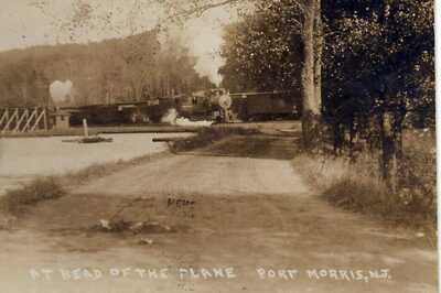 1908 port morris new jersey 2 trains entering town AT HEAD OF THE PLANE ? rppc