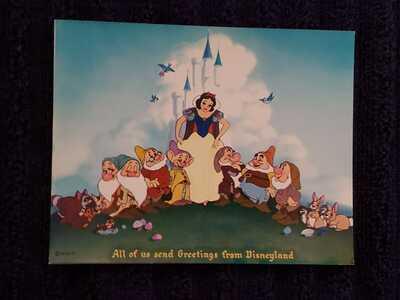 Disneyland Art Corner Rare Snow White & the Seven Dwarfs Vintage Post Card