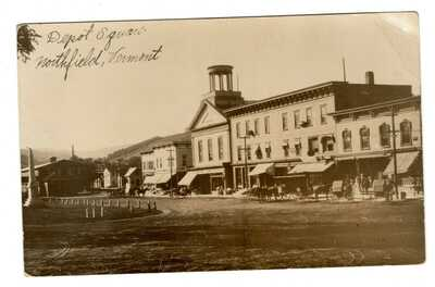 Northfield Vermont Depot Square Real Photo Postcard RPPC