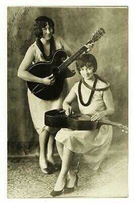 "SIGNED 1920's ""DIXIE GIRLS"" EARLY COUNTRY WESTERN HAWAIIAN GUITAR DUO RPPC Rare"