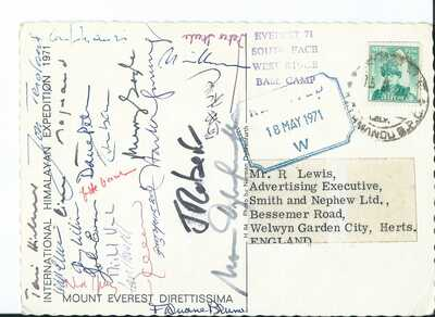 1971 MOUNT EVEREST INTERNATIONAL HIMALAYAN EXPEDITION CARD SIGNED BY 23 HIKERS