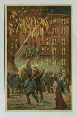 Fabulous HTL Hold To Light Postcard Firefighters Dreamland Coney Island NY y4962