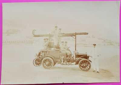 Photo Monaco La Condamine Vue du Port Camion des Sapeurs Pompiers Rare Avt 1920