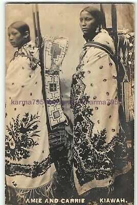 1900 Kiowa Native American Indian Women~RPPC Real Photo Postcard Oklahoma OK-N7