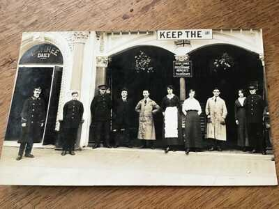 London BOLINGBROKE HALL CINEMA Staff lineup 1910s RP Rare POSTCARD   13/1