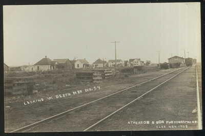 1908 RPPC, LOOKING W. DEETH, NV. DOWN RAILROAD TRACKS TO DEPOT