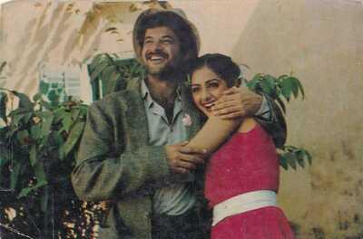 Bollywood Actors Postcard Pair India - Anil Kapoor-Sridevi (02)