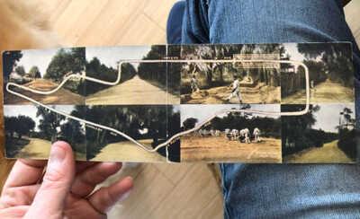 Rare 1911 Savannah Georgia Automobile Race Course Double Sized Folding Postcard