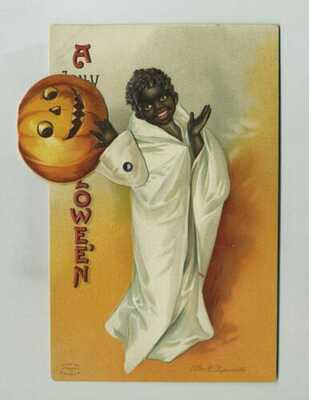 Early Halloween Mechanical Postcard Black Child JOL Signed Clapsaddle yz5951