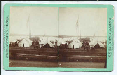 Minneapolis MN Minnesota Stereoview Camp View G.A.R. Encampment July 23, 1884