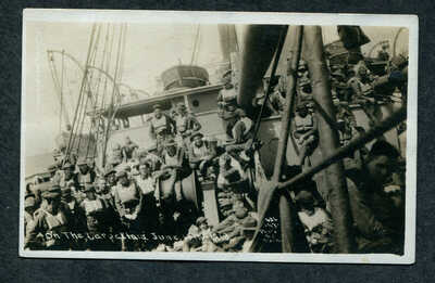 On the Carpathia, Crew on Ship, WW1 Era Postcard