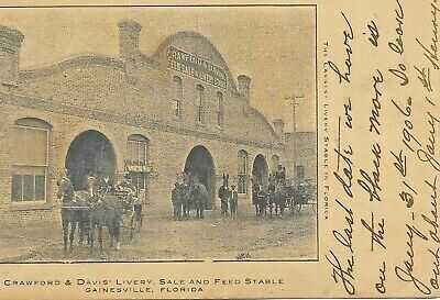 1906 gainesville: crawford & davis livery stable, FLORIDA; locally printed