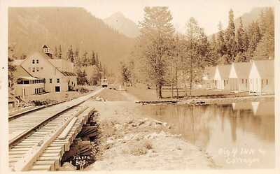 RPPC ~ Big Four, WA - Big 4 Inn & tent Cottages - Train Tracks - Juleen photo