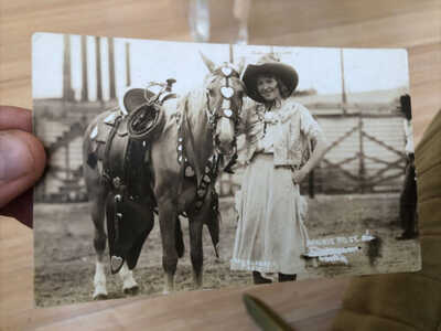 Rare 1910's RPPC PHOTO POSTCARDS OF RODEO WESTERN COWGIRL Prairie Rose