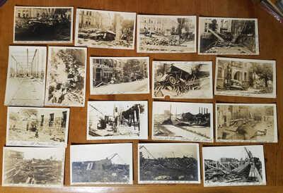 1921 Flood Damage San Antonio, Texas, 17 Photo Postcards