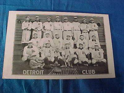 Early 20thc DETROIT TIGERS Baseball TEAM PHOTO POSTCARD w TY COBB