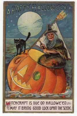 HALLOWEEN POSTCARD, SERIES B37, PUB. BY I.S.L. Co WITCH ON JOL FLOATING ON SEA.