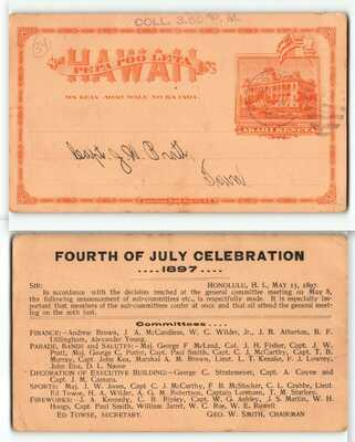 Historic 1897 Pre-Annexation-Post Overthrow July 4th Event Hawaii Postcard -H2