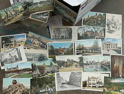 1098-1940's +/-  Vintage Lot 1,000 +/- US Town + City Vintage Postcards-  Box B