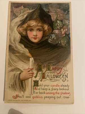 1911 Schmucker Winsch Happy Halloween Goblins & Girl with Candlelight post card