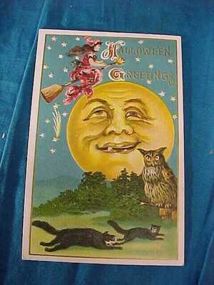Early 20thc HALLOWEEN POSTCARD with MAN IN The MOON + WITCH Scene