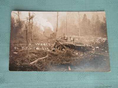 WRECK on DRY FOLK LUMBER LINE WEST VIRGINIA Logging Railroad c1910 REAL PHOTO WM