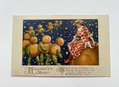 """Antique 1913 Winsch Halloween Postcard """"Halloween Night"""""""
