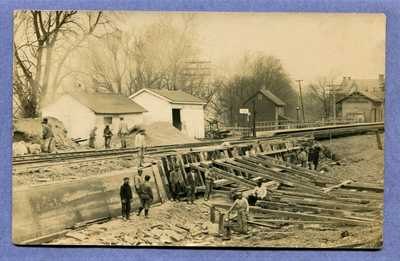 OLD RPPC REAL PHOTO POSTCARD WASHINGTON CROSSING NJ PA RR RAILROAD STATION 1915