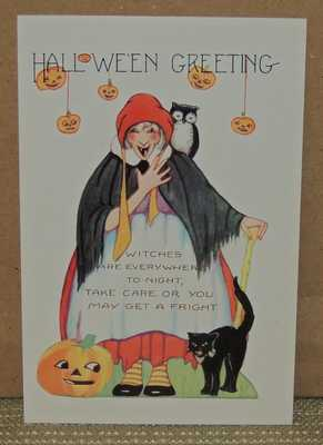 Vintage Whitney Halloween Embossed Postcard, a Witch, JOL, Owl and Black Cat