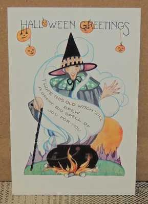 Vintage Whitney Halloween Embossed Postcard, Witch at Cauldron, w. Hanging JOLs