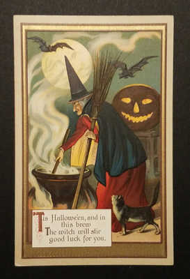 VINTAGE WITCH POSTCARD ca 1910 # 2 of 4 ~ GERMANY ~ HALLOWEEN ~ RARE!