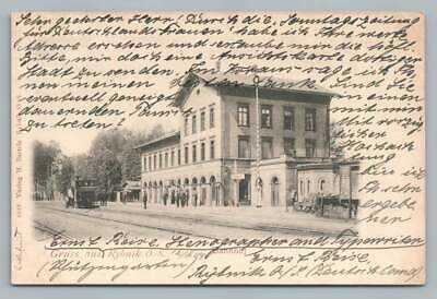 Gruss aus RYBNIK Silesia POLAND Rare BANHOF Antique Polish AK Postcard 1903