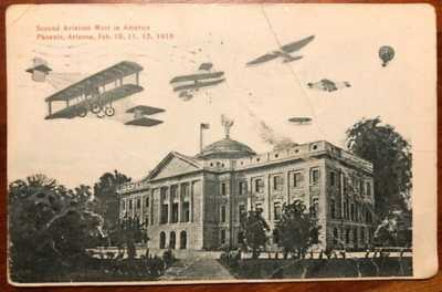 Second Aviation Meet in America Phoenix Arizona Feb 10, 11, 12, 1910 litho