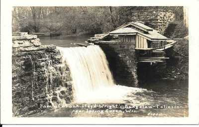 DAM AT FRANK LLOYD-WRIGHT'S BUNGALOW NEAR SPRING GREEN, WISCONSIN RPPC