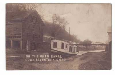 "1908 RPPC OHIO & ERIE Canal Boat ""MAYFLOWER"" at Old Mill LOCK SEVENTEEN, OH"