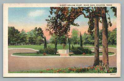 Sleepy Hollow Court HOUSTON Texas~River Oaks TX Vintage Linen Postcard 1940s