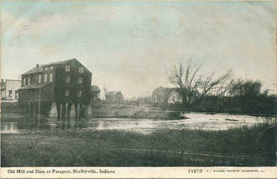 Old Mill and Dam at Freeport, Shelbyville Indiana Vintage Postcard. Unposted